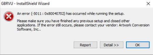 GBRVU Installer Error Message